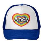 Amo a Andy, corazón del arco iris Gorro De Camionero