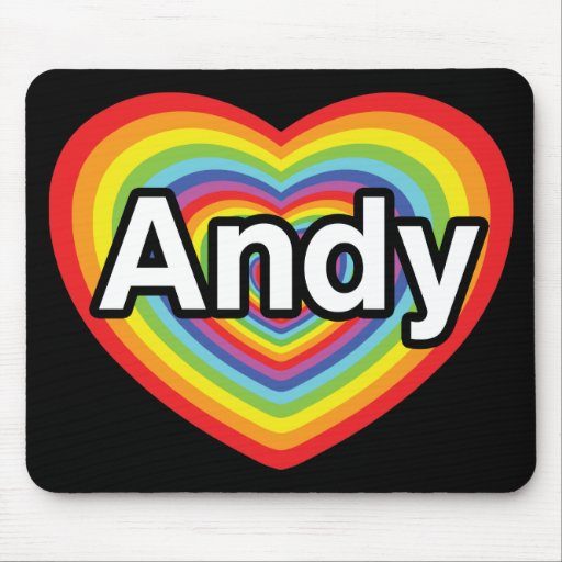 Amo a Andy, corazón del arco iris Tapete De Raton