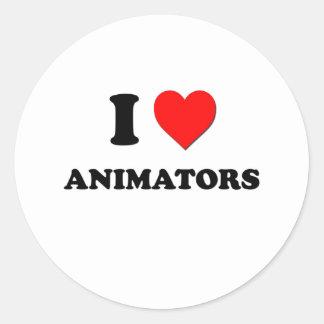 Amo a animadores pegatina redonda