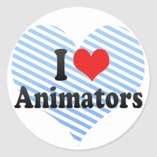 Amo a animadores pegatinas redondas