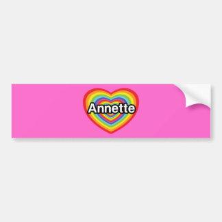 Amo a Annette, corazón del arco iris Pegatina De Parachoque