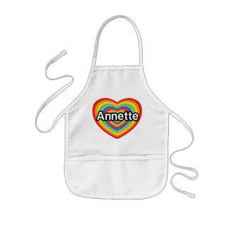 Amo a Annette, corazón del arco iris Delantales