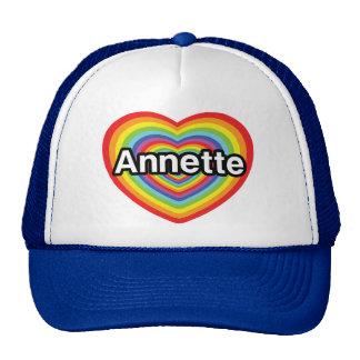 Amo a Annette, corazón del arco iris Gorros Bordados