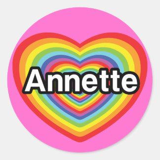 Amo a Annette, corazón del arco iris Pegatina Redonda