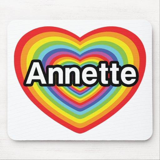 Amo a Annette, corazón del arco iris Alfombrilla De Raton