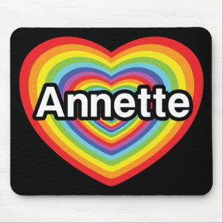 Amo a Annette, corazón del arco iris Tapetes De Ratón