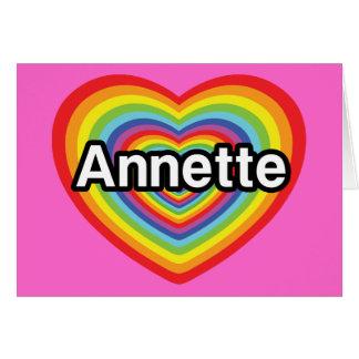 Amo a Annette, corazón del arco iris Tarjeta De Felicitación