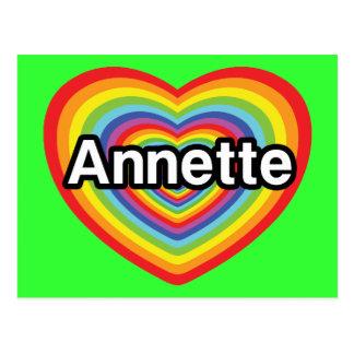 Amo a Annette, corazón del arco iris Postal