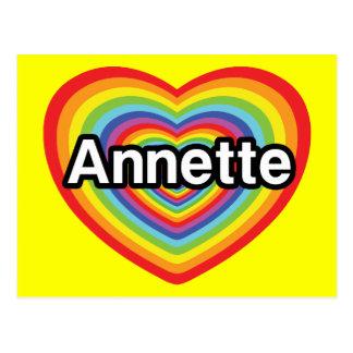 Amo a Annette, corazón del arco iris Tarjetas Postales