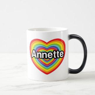 Amo a Annette, corazón del arco iris Taza Mágica