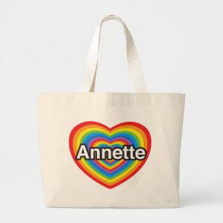 Amo a Annette. Te amo Annette. Corazón Bolsas Lienzo