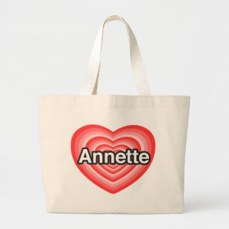 Amo a Annette. Te amo Annette. Corazón Bolsa De Mano