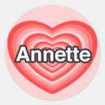 Amo a Annette. Te amo Annette. Corazón Etiqueta
