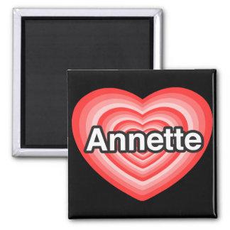 Amo a Annette. Te amo Annette. Corazón Imán Cuadrado