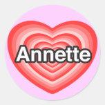 Amo a Annette. Te amo Annette. Corazón Pegatina Redonda