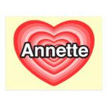 Amo a Annette. Te amo Annette. Corazón Postal