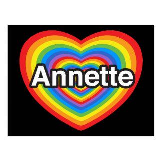 Amo a Annette. Te amo Annette. Corazón Postales