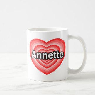 Amo a Annette. Te amo Annette. Corazón Taza Básica Blanca