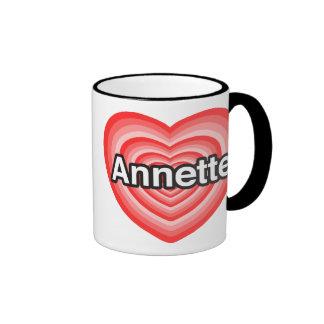 Amo a Annette. Te amo Annette. Corazón Taza A Dos Colores