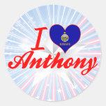 Amo a Anthony, Kansas Pegatinas Redondas