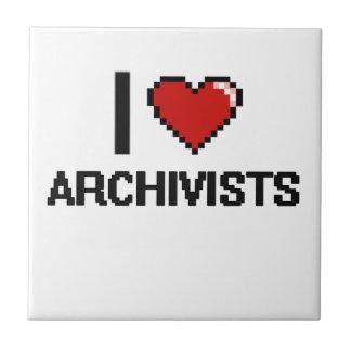 Amo a archivistas azulejo cuadrado pequeño