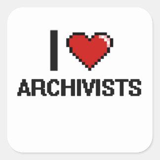 Amo a archivistas pegatina cuadrada