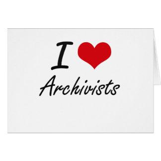 Amo a archivistas tarjeta pequeña