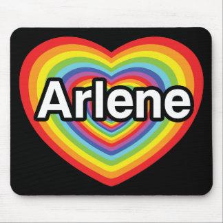 Amo a Arlene, corazón del arco iris Tapetes De Ratón