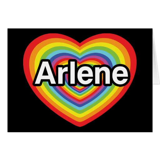 Amo a Arlene, corazón del arco iris Tarjeta De Felicitación