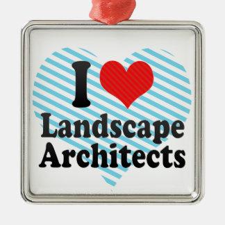 Amo a arquitectos paisajistas adorno cuadrado plateado