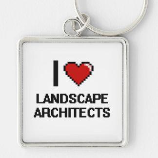 Amo a arquitectos paisajistas llavero cuadrado plateado
