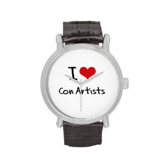 Amo a artistas de estafa reloj de mano