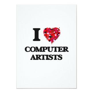 """Amo a artistas del ordenador invitación 5"""" x 7"""""""