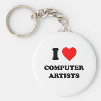 Amo a artistas del ordenador llavero redondo tipo pin