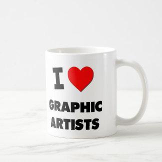 Amo a artistas gráficos taza de café