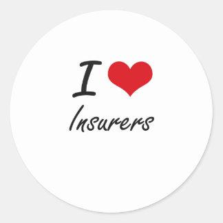 Amo a aseguradores pegatina redonda