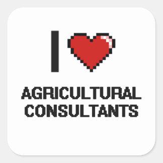 Amo a asesores agrícolas pegatina cuadrada