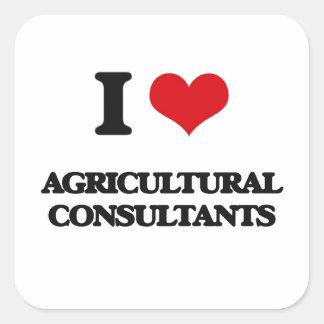 Amo a asesores agrícolas calcomanía cuadradas personalizadas