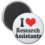 Amo a asistentes de investigación iman de nevera