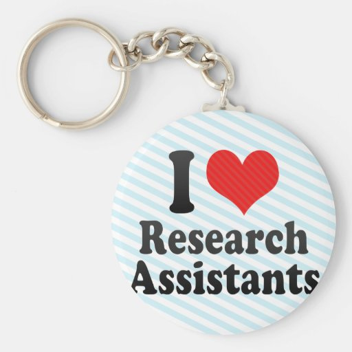 Amo a asistentes de investigación llaveros personalizados