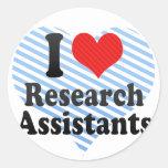 Amo a asistentes de investigación pegatinas redondas