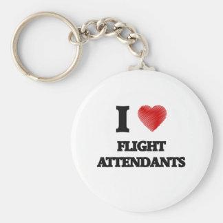 Amo a asistentes de vuelo llavero redondo tipo pin