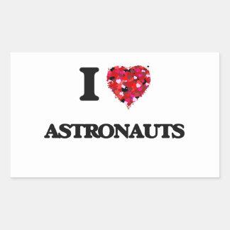 Amo a astronautas pegatina rectangular