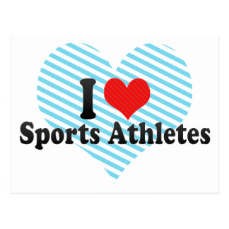 Amo a atletas de los deportes tarjetas postales