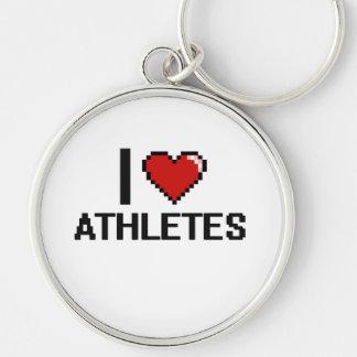 Amo a atletas llavero redondo plateado
