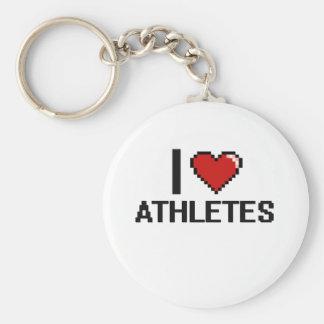 Amo a atletas llavero redondo tipo chapa