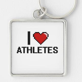 Amo a atletas llavero cuadrado plateado