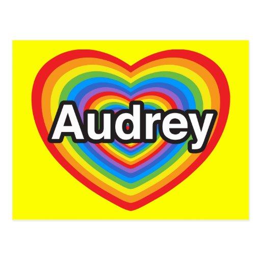 Amo a Audrey. Te amo Audrey. Corazón Postales