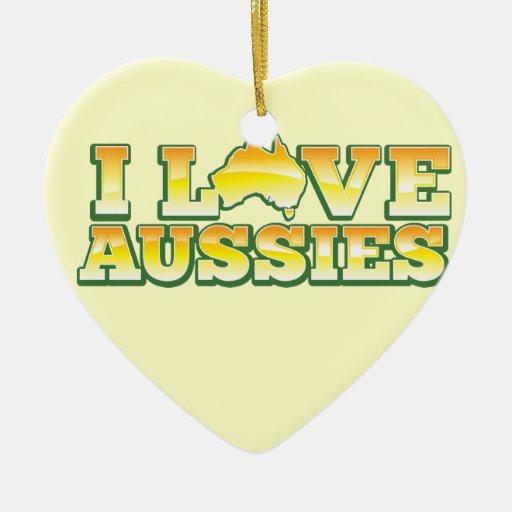 ¡Amo a australianos! Diseño de Australiana Adorno De Cerámica En Forma De Corazón