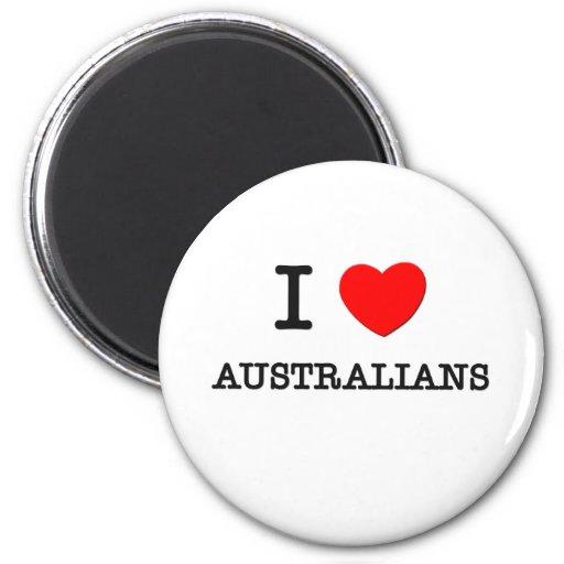 Amo a australianos imán de frigorifico